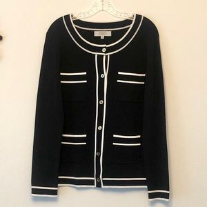 Kasper Sweaters - Kaspar Knit Black Cardigan w/ White Trim